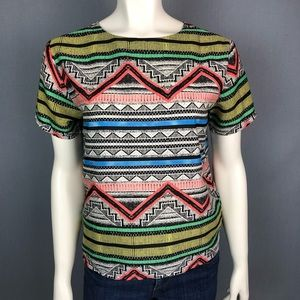 Lumiere geometric print colorful blouse size small